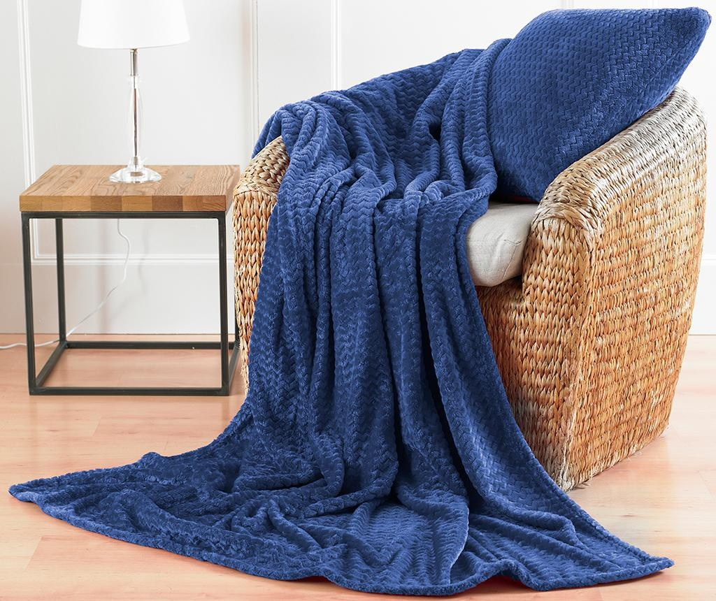 Chevron Fleece Blue Díszpárna 43x43 cm
