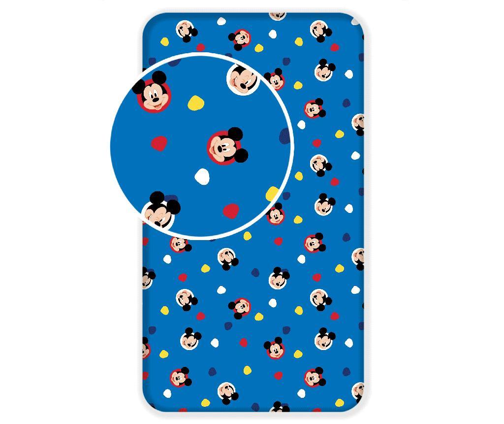 Cearsaf de pat cu elastic Ranforce Mickey Mouse 90x200 cm