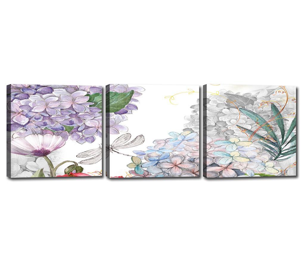 Set 3 tablouri Hydrangeas 30x30 cm