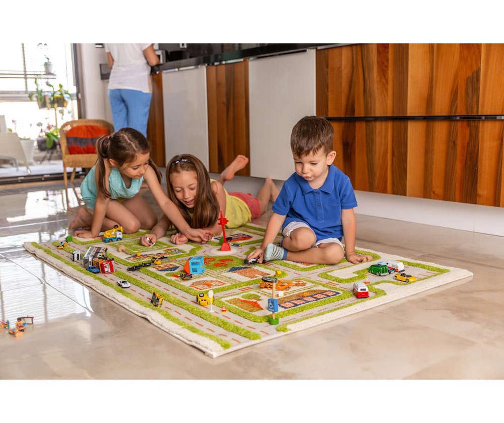 Traffic Middle 3D Green Játszószőnyeg 100x150 cm