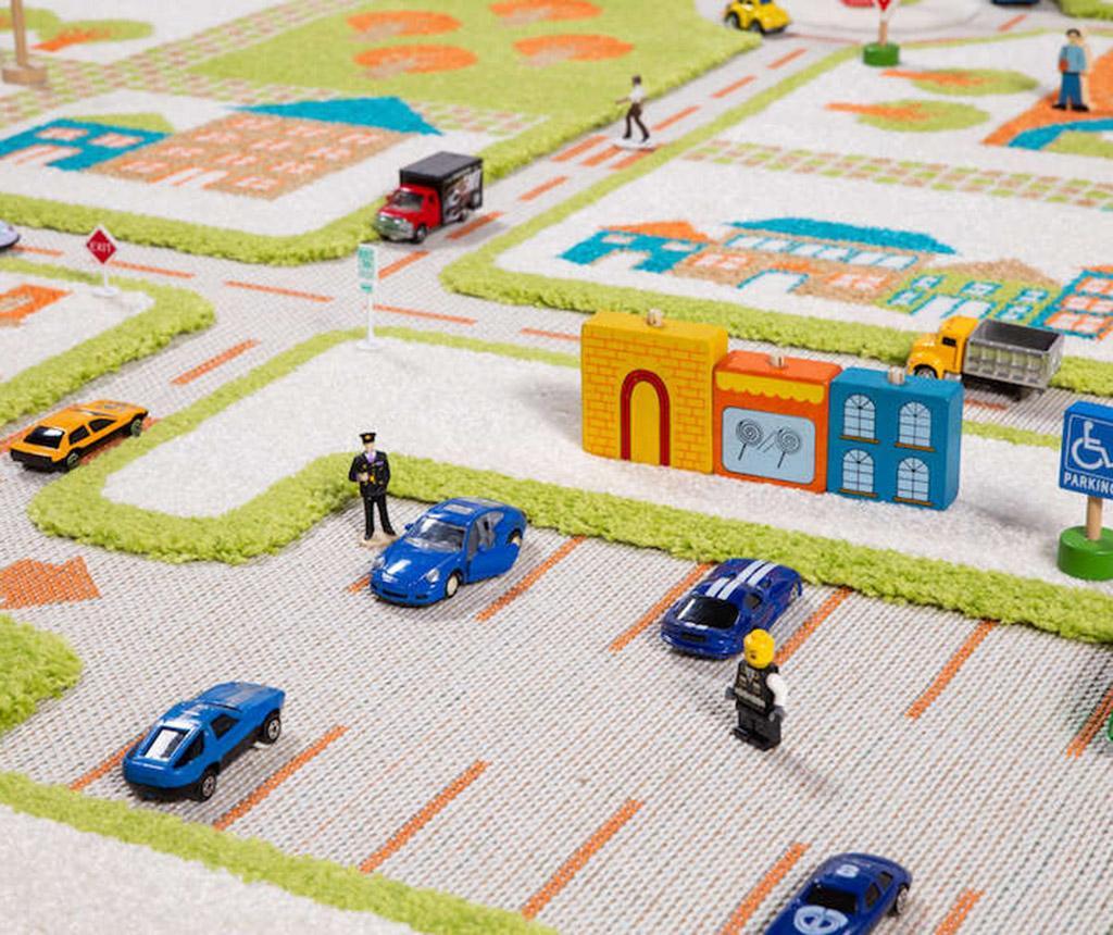Traffic 3D Green Játszószőnyeg 134x180 cm