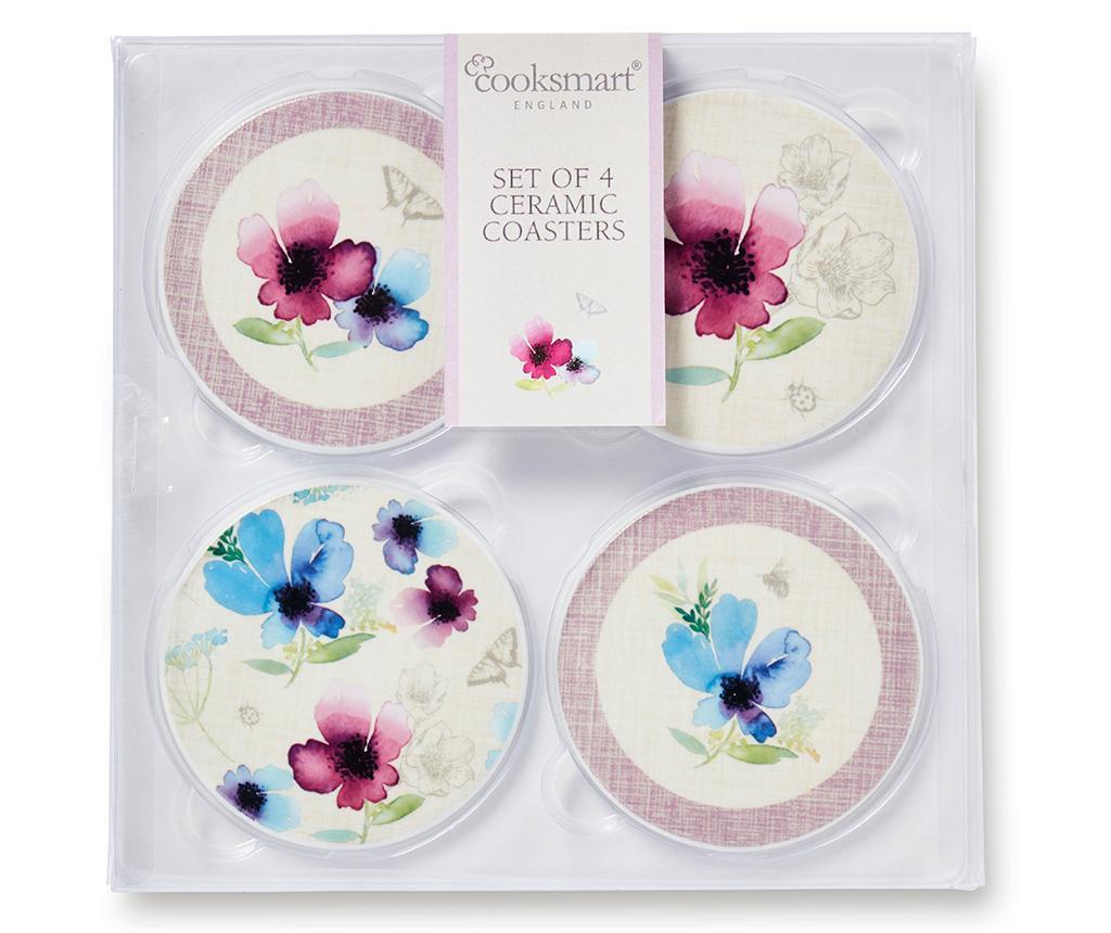 Set 4 coastere Chatsworth Floral Round