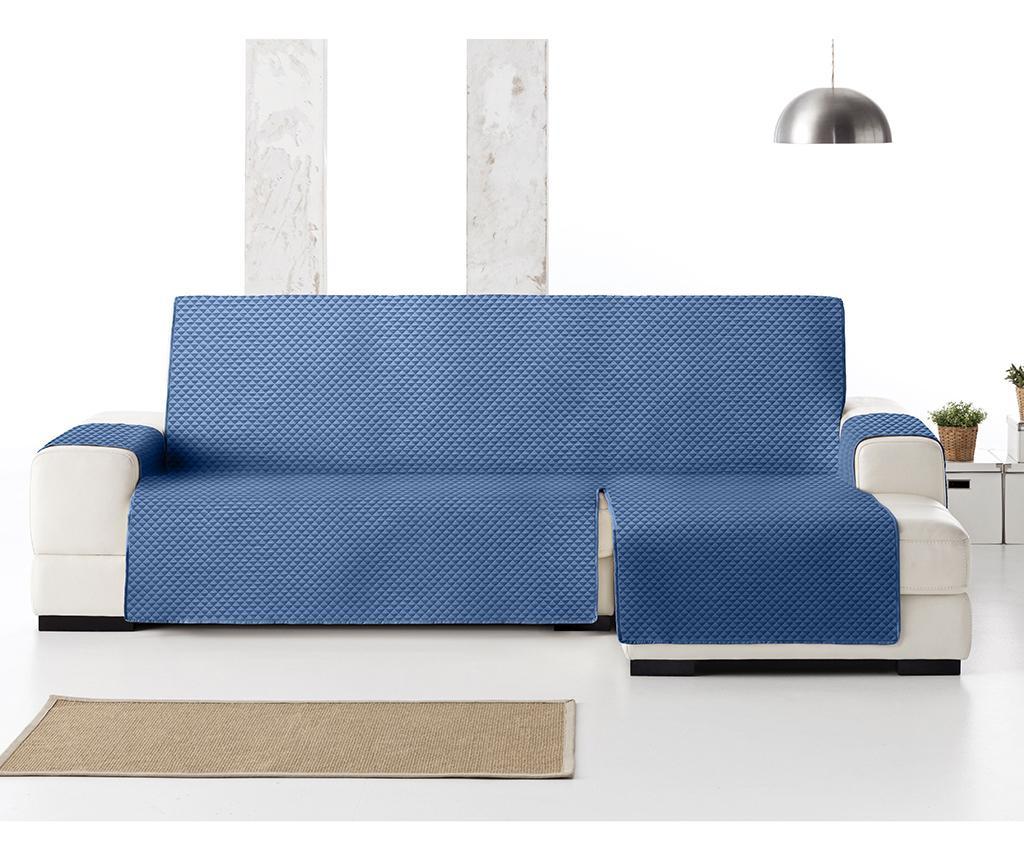 Pikowany pokrowiec na rozkładany narożnik prawostronny Oslo Blue 240x150x80 cm
