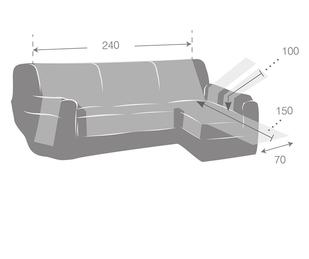 Pokrowiec na rozkładany narożnik prawostronny Zoco Grey 240x95x150 cm