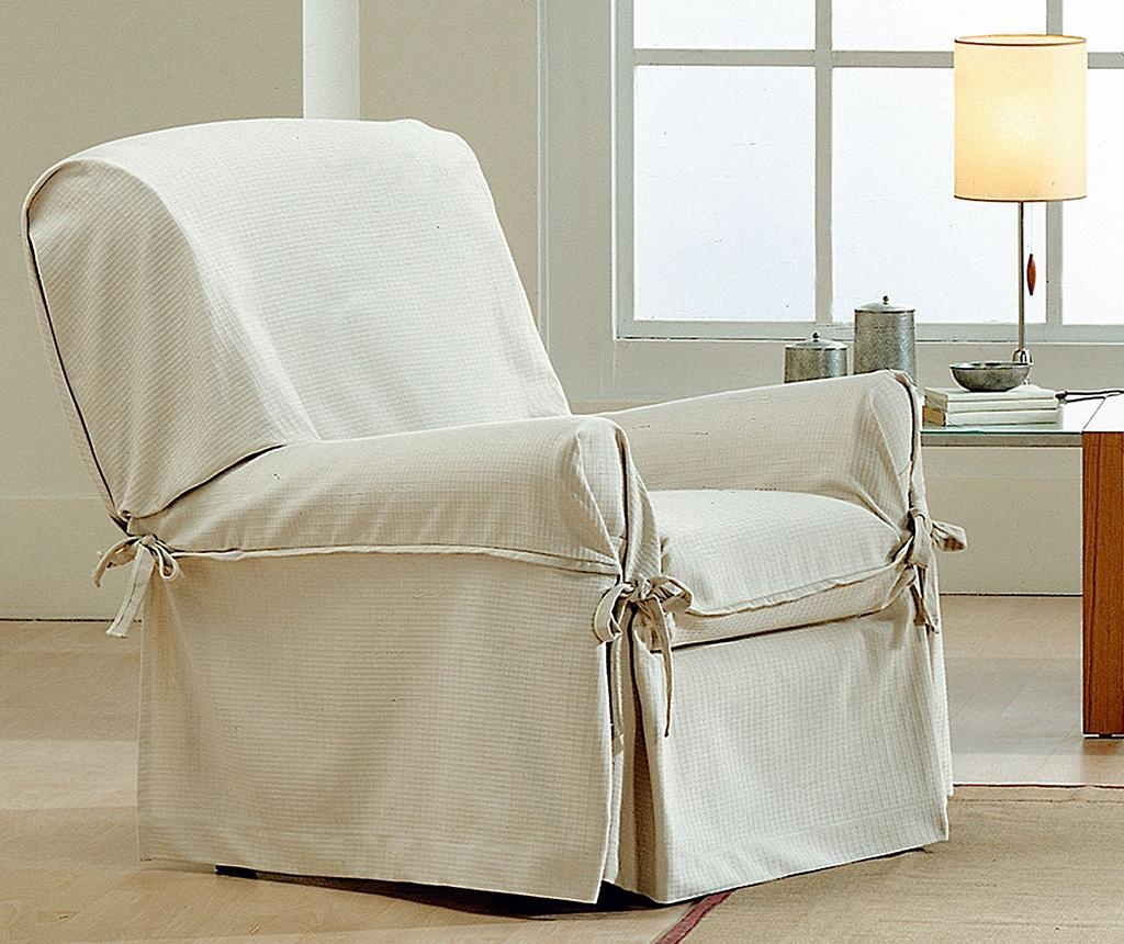 Podesiva navlaka za fotelju Paola Ecru Bows 80-120 cm