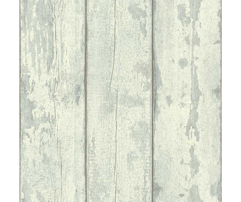 Tapeta Washed Wood Cream Teal 53x1005 cm