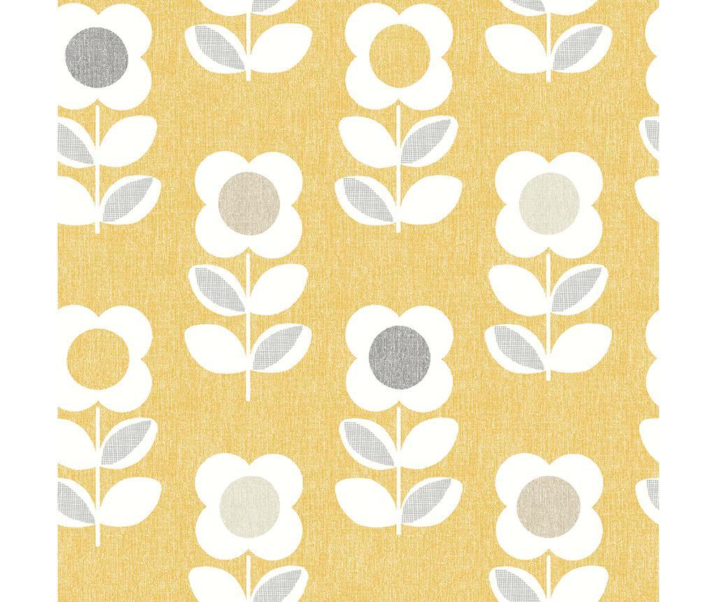 Retro Floral Ochre Tapéta 53x1005 cm
