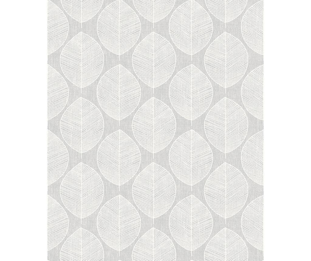 Tapeta Scandi Leaf Grey 53x1005 cm