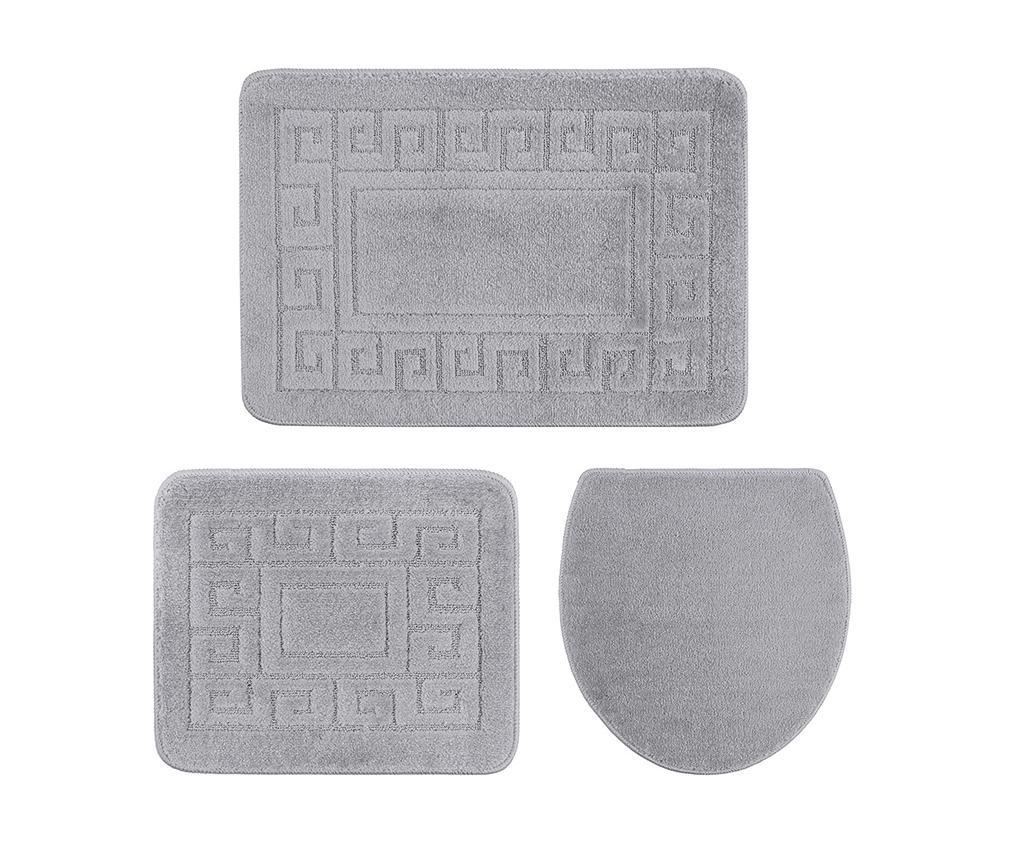 Set 3 kopalniških preprog Ethnic Light Grey