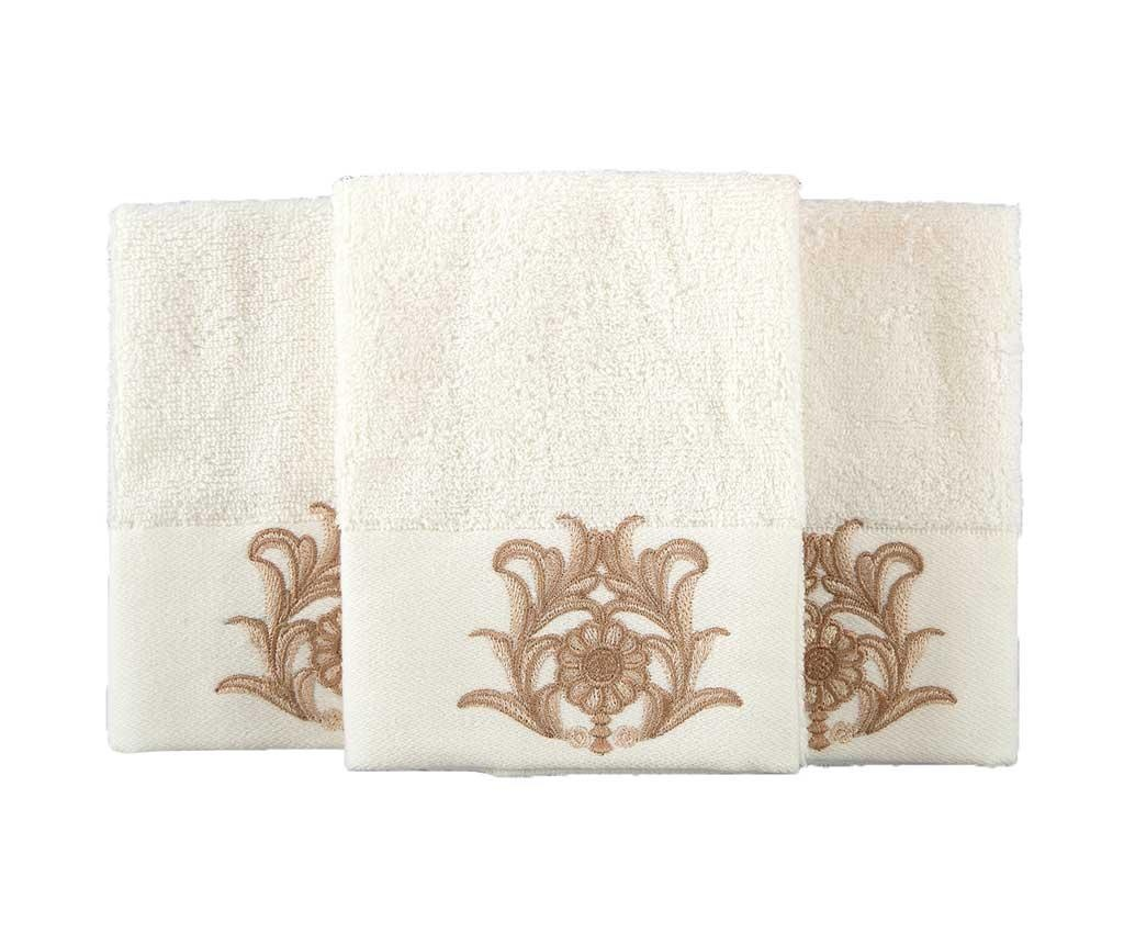 Set 3 prosoape de baie Calisto Cream 30x50 cm
