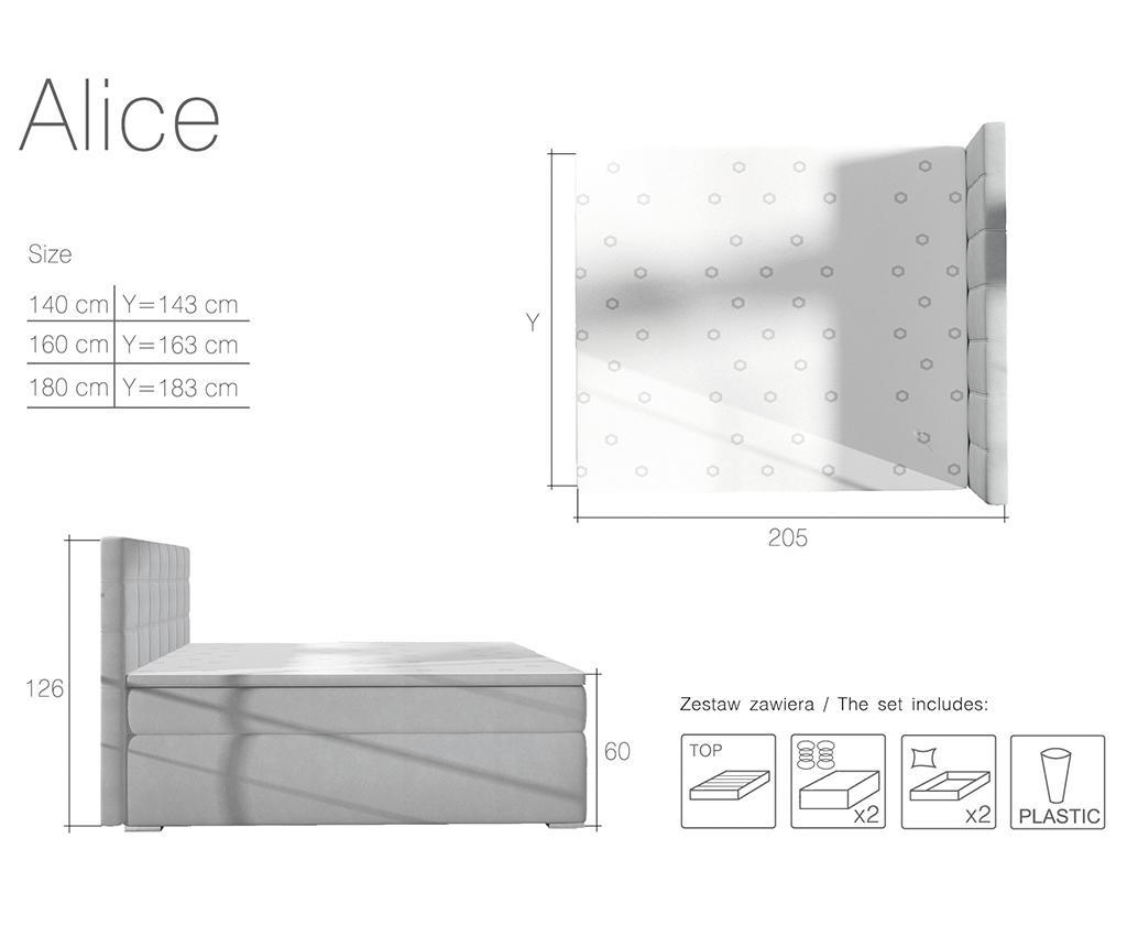 Alice Light Grey Boxspring ágy 160x200 cm