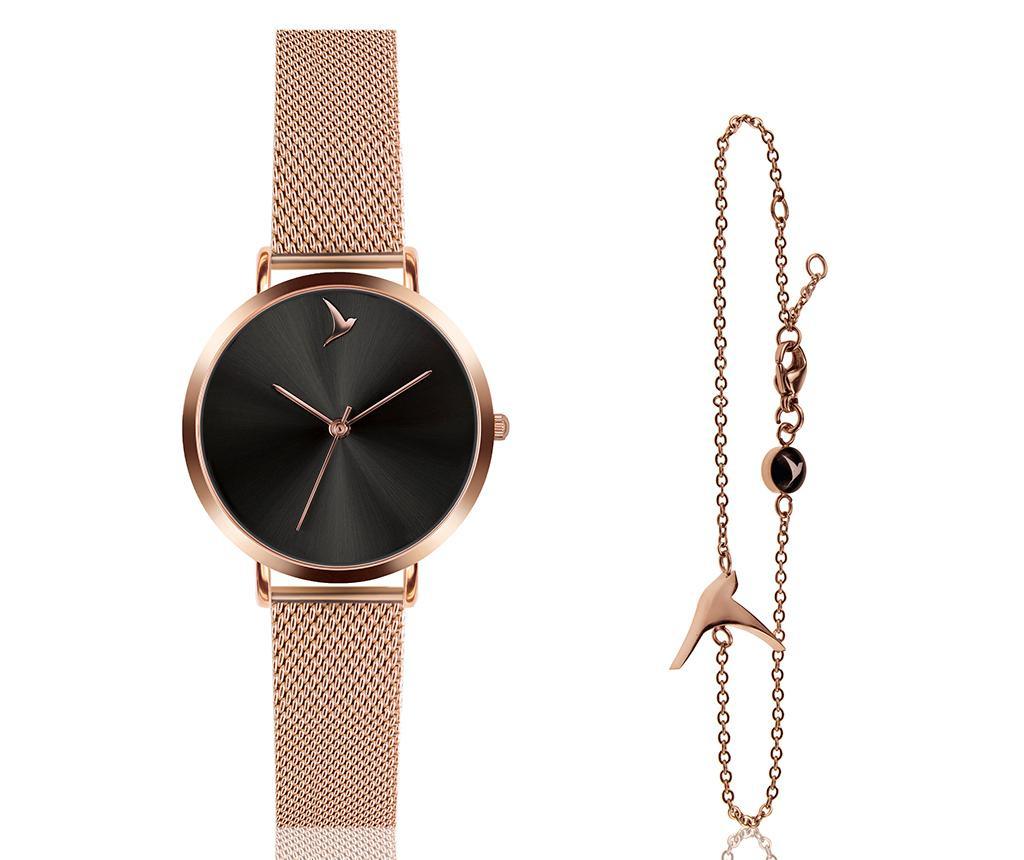 Set ceas de mana dama si bratara Emily Westwood Wings Dark Glam Rose