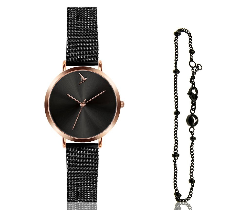 Set ceas de mana dama si bratara Emily Westwood Dark Glam Black and Rose