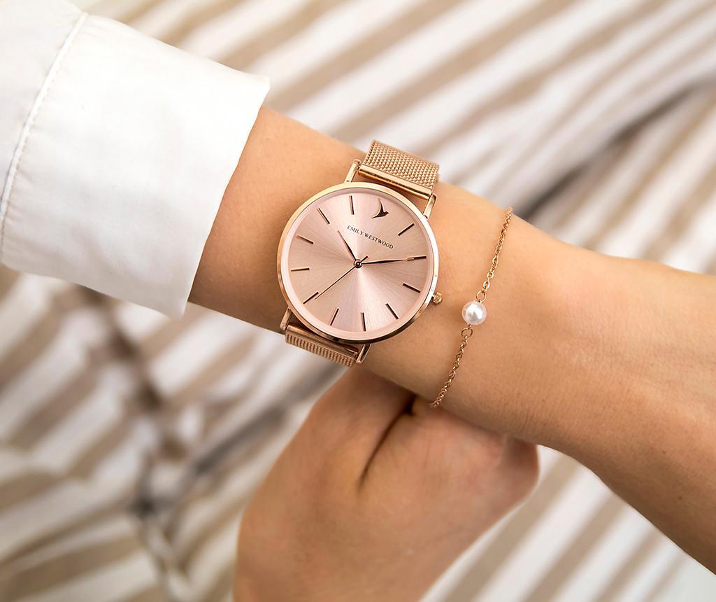 Set ceas de mana dama si bratara Emily Westwood Sarah Glam Smooth Rose