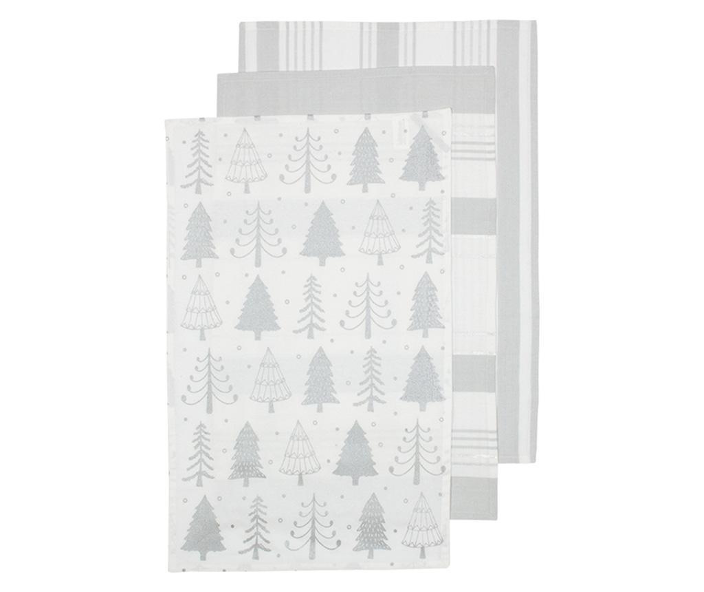 Set 3 kuhinjska ručnika Sparkle Tree Silver 45x70 cm