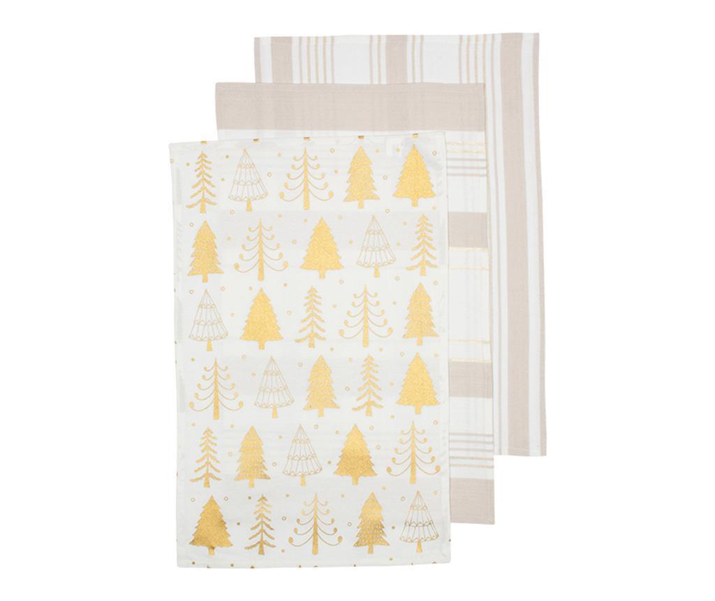 Set 3 kuhinjskih brisač Sparkle Tree Golden 45x70 cm