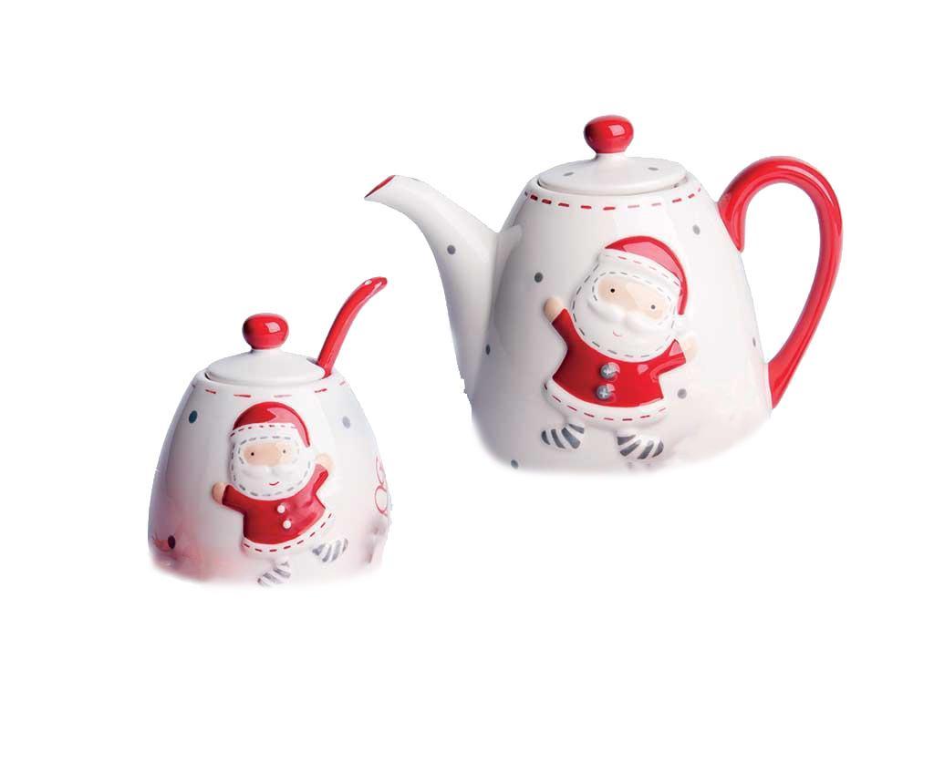 Set ceainic, zaharnita si lingurita Christmas Country