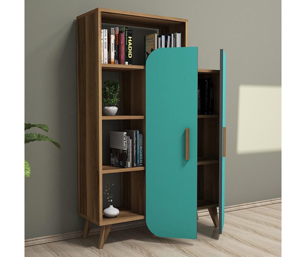 Knižnicový diel Form  Walnut Turquoise