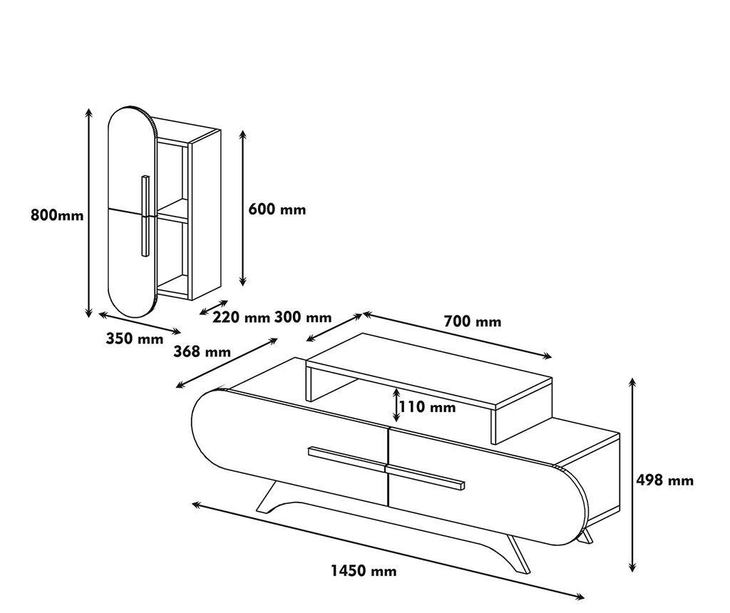 Set - TV komoda in viseči element Rose S  Walnut White