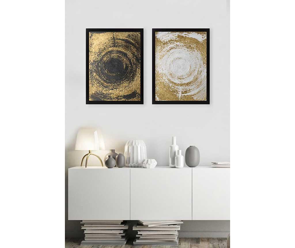 Circles Golden 2 db Kép 34x44 cm