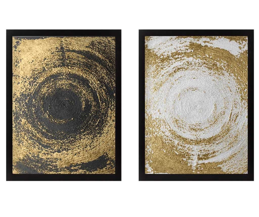 Circles Golden 2 db Kép 34x44 cm
