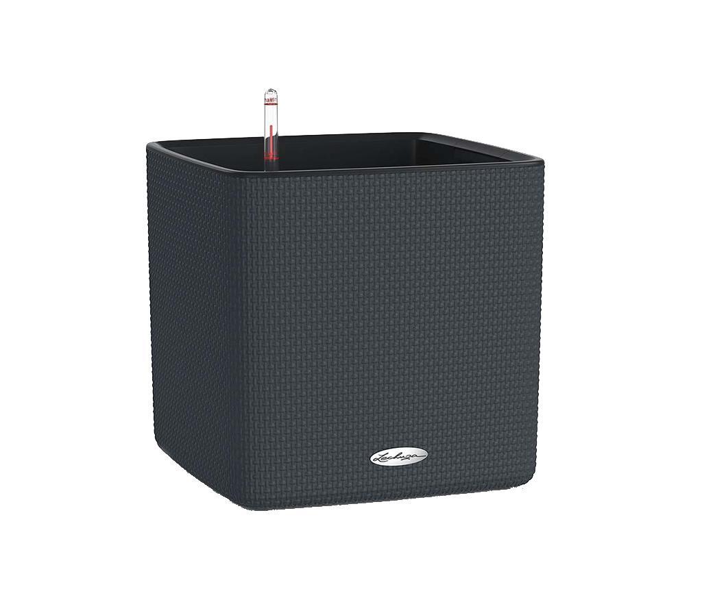 Set ghiveci cu sistem autoirigare si suport Cube Pure Grey