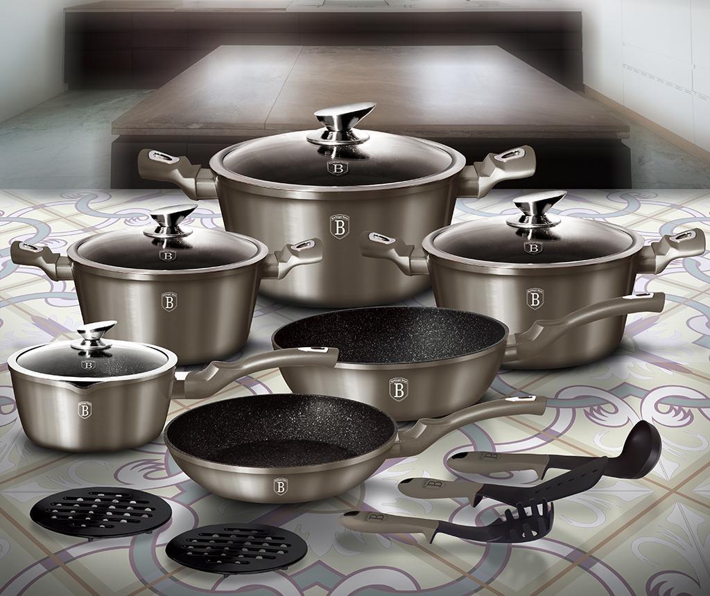 15-dijelni set posuda za kuhanje Metallic Carbon