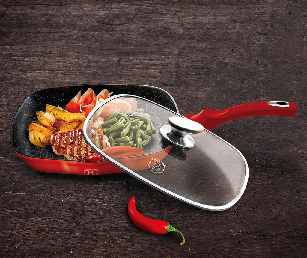 Tigaie grill cu capac Metallic Burgundy 28x28 cm