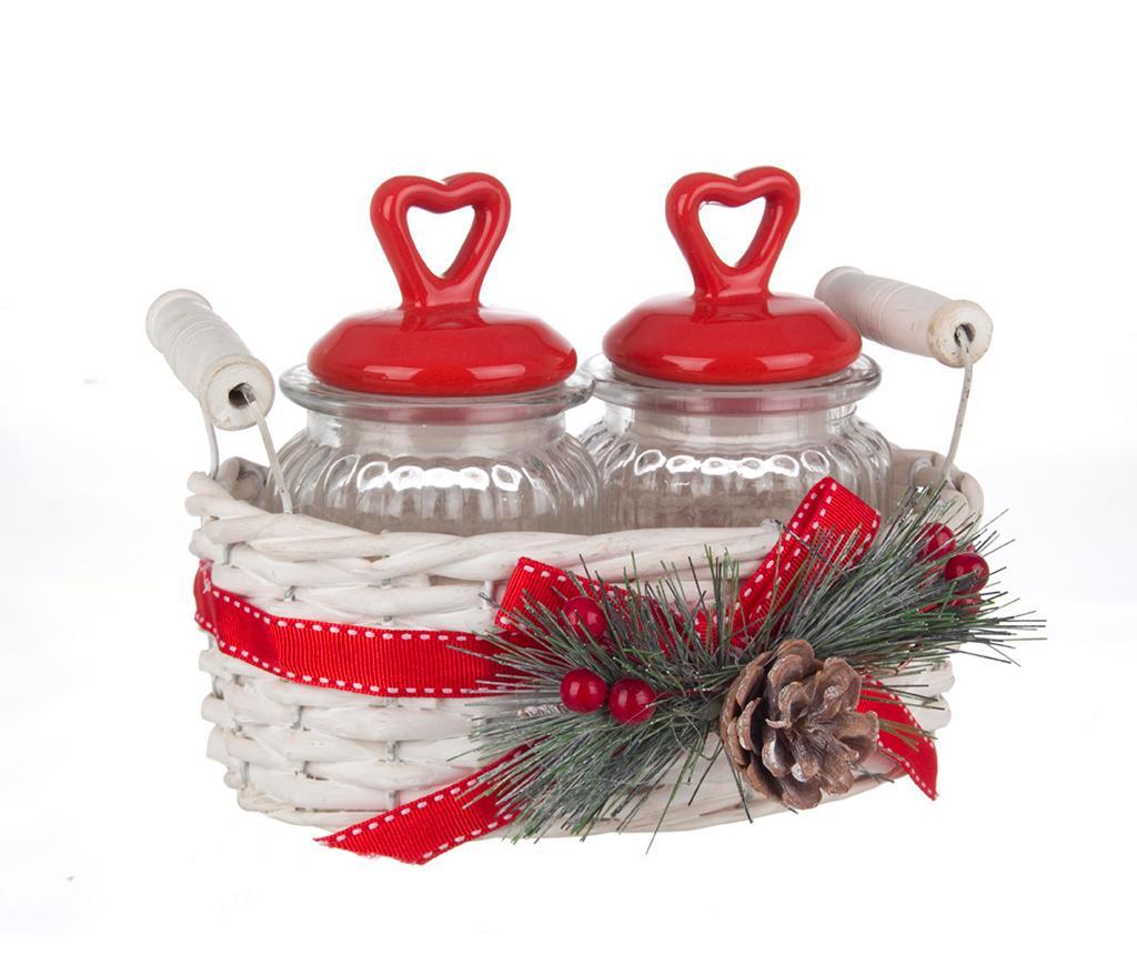 Set 2 recipiente cu capac si cos Santa S