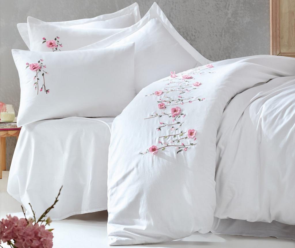 Lenjerie de pat King Satin Supreme Perla Embroidered White 200x220