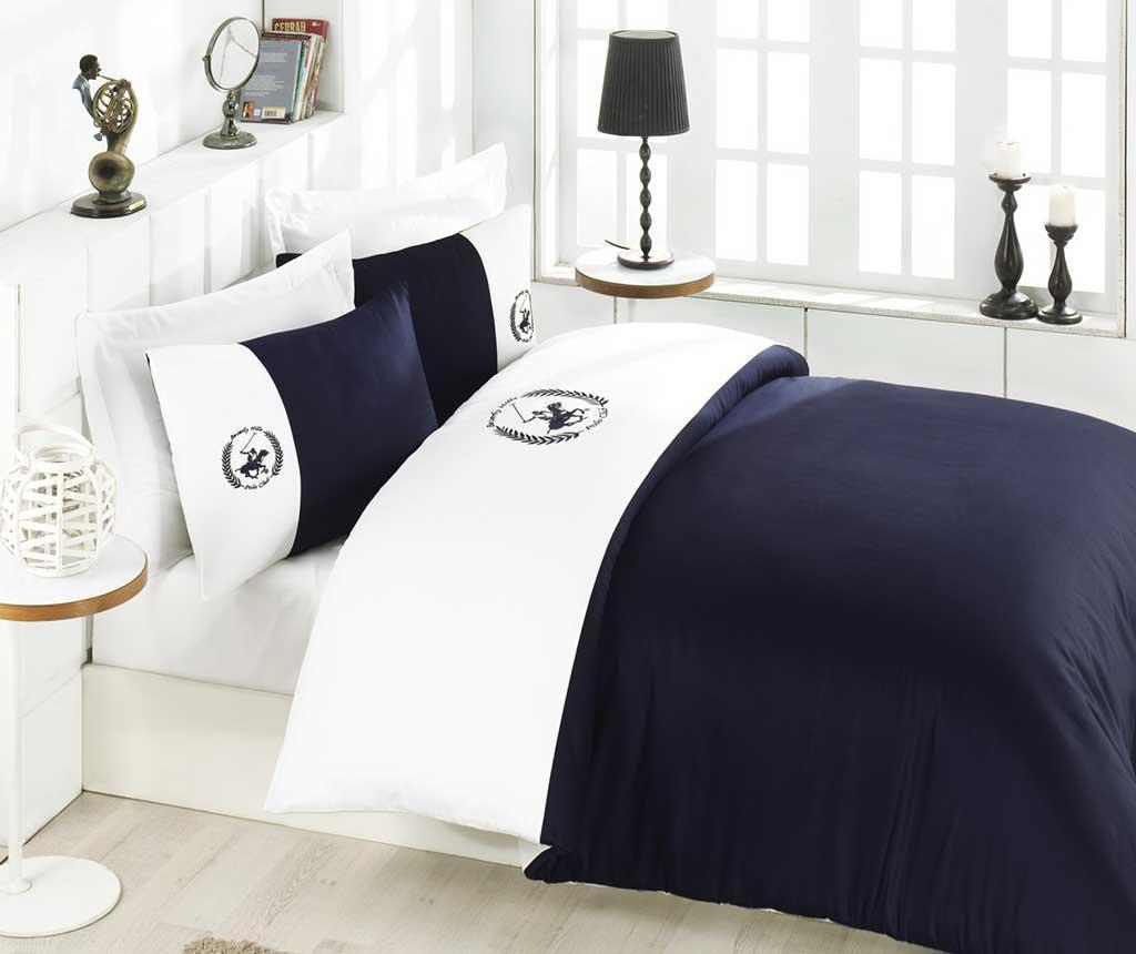 Lenjerie de pat King Satin Supreme Polo Club Ultramarine White 200x220