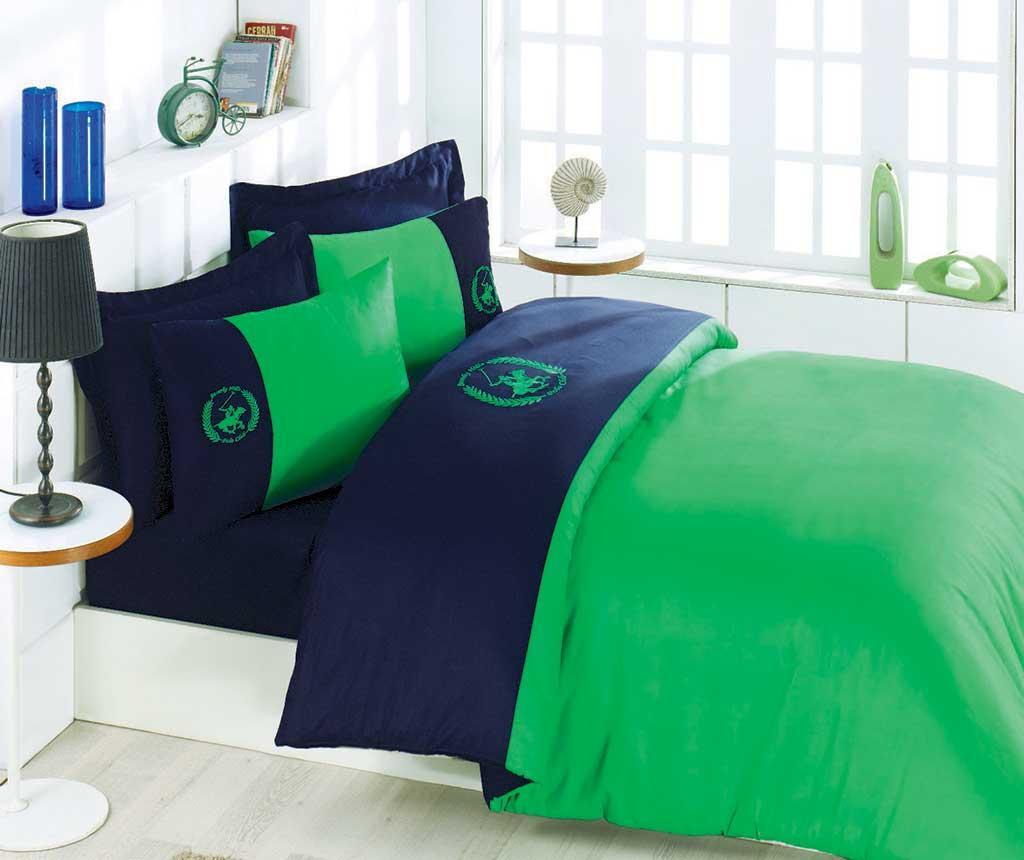 Lenjerie de pat King Satin Supreme Polo Club Green Blue
