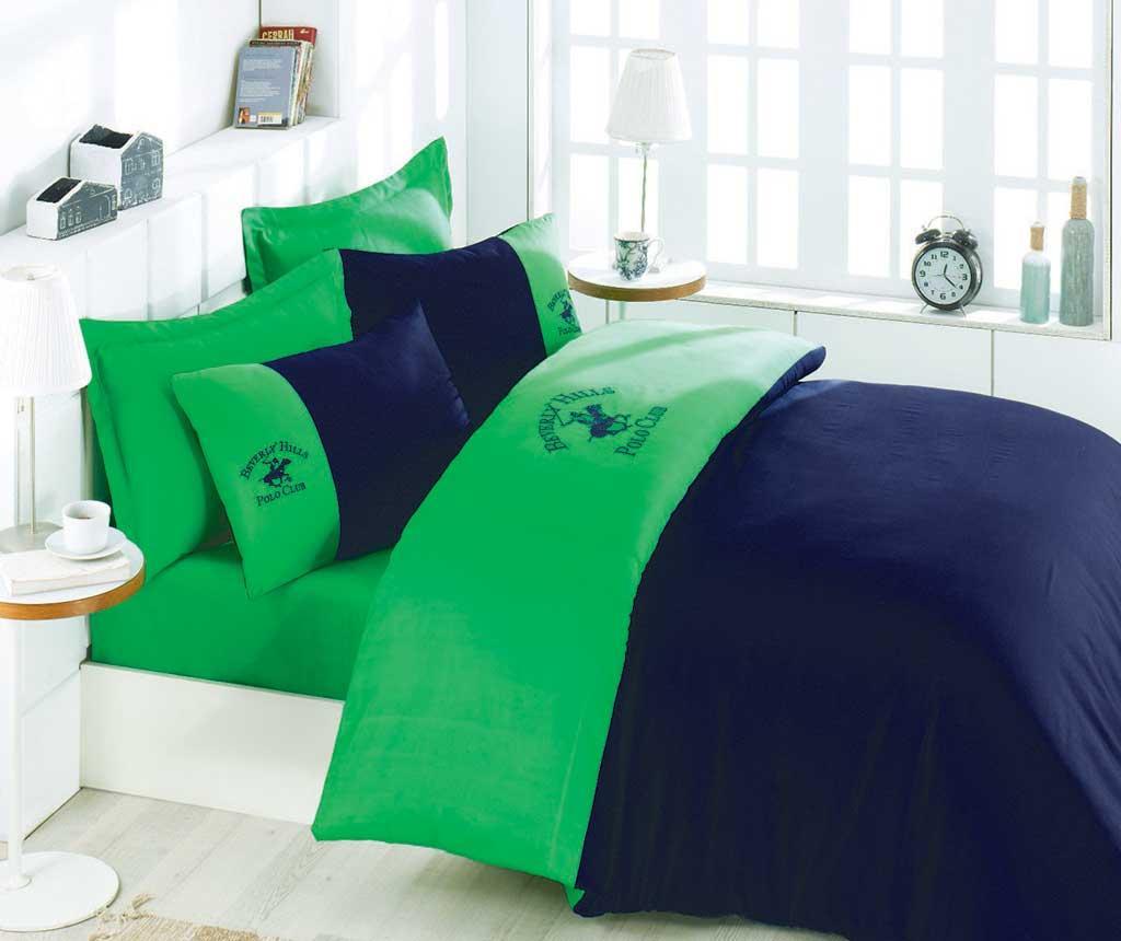 Lenjerie de pat King Satin Supreme Polo Club Blue Green 200x220