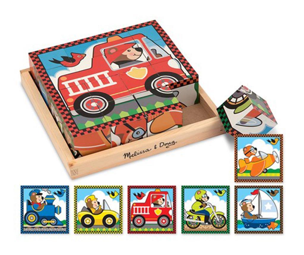 Puzzle din 16 cuburi si suport Cars