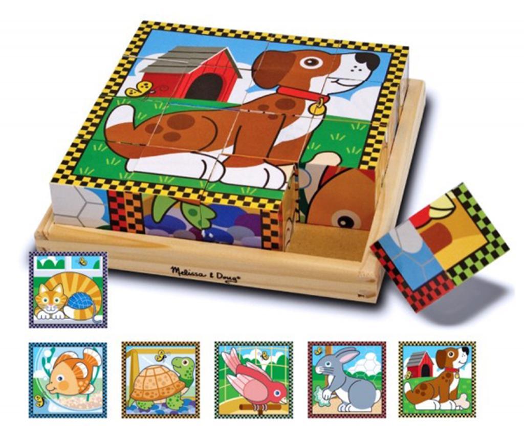 Puzzle din 16 cuburi Cute Pets