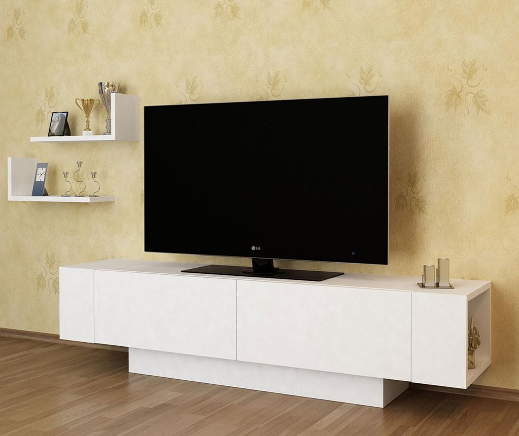 Set - TV komoda in 2 polici Ekol  White