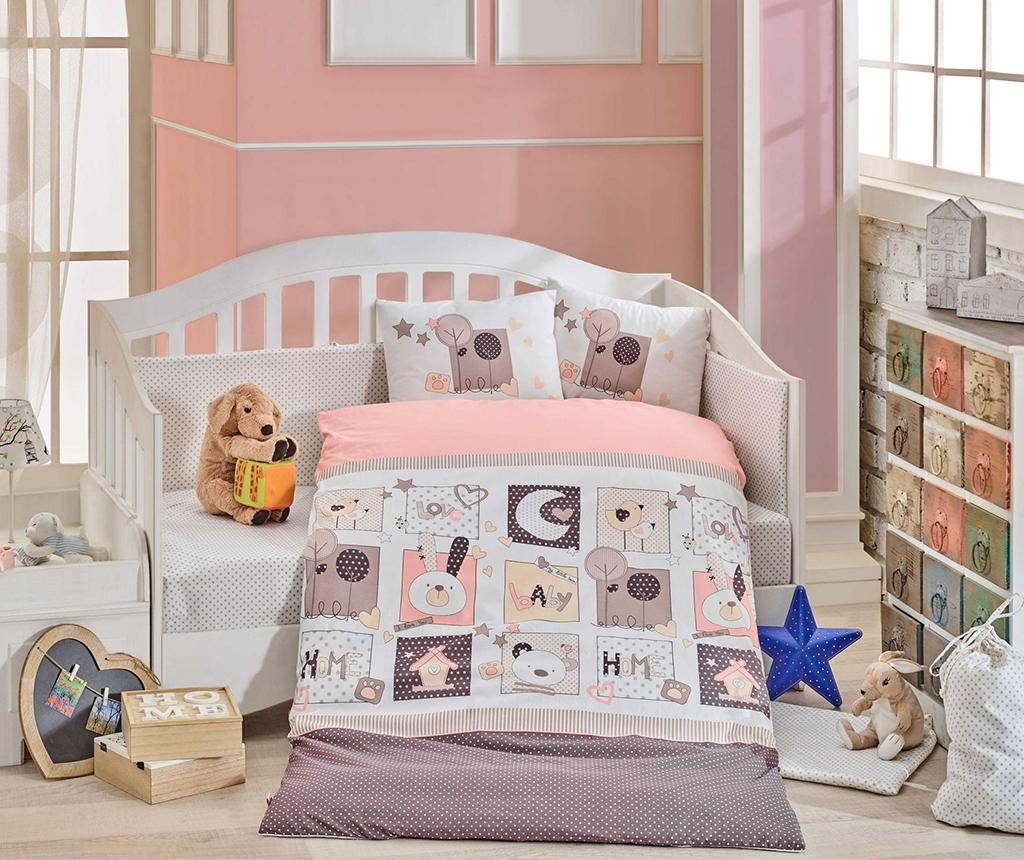 Posteljina za krevetić Poplin Supreme Sweethome Pink