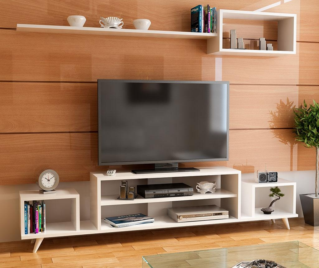 Set comoda TV si raft de perete Aberdeen