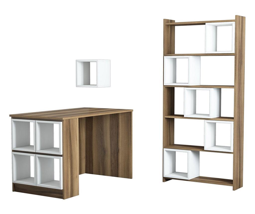 Set radni stol, regal za knjige i 10 modularnih polica Byrd White