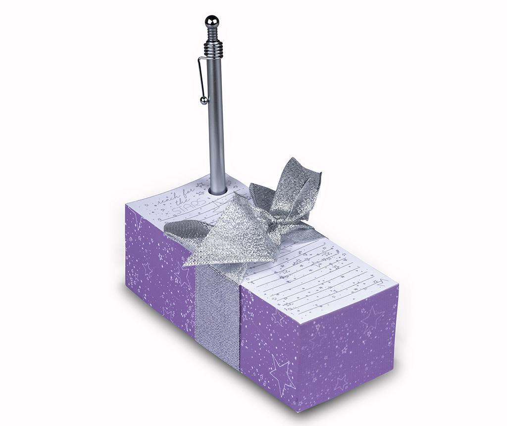 Set bloc notite si pix Purple Stars