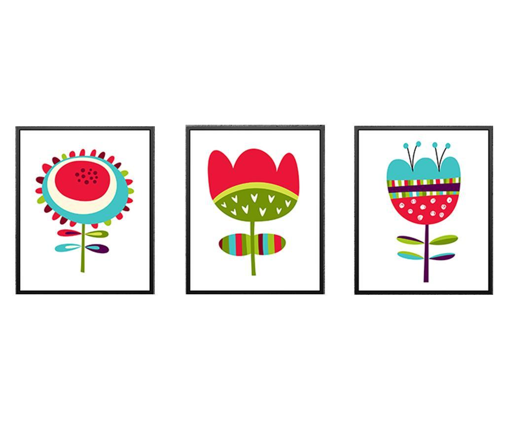 Set 3 tablouri Dazy Flowers 24x29 cm