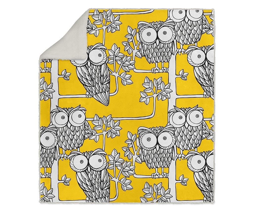 Pokrivač Yellow Owls 130x160 cm