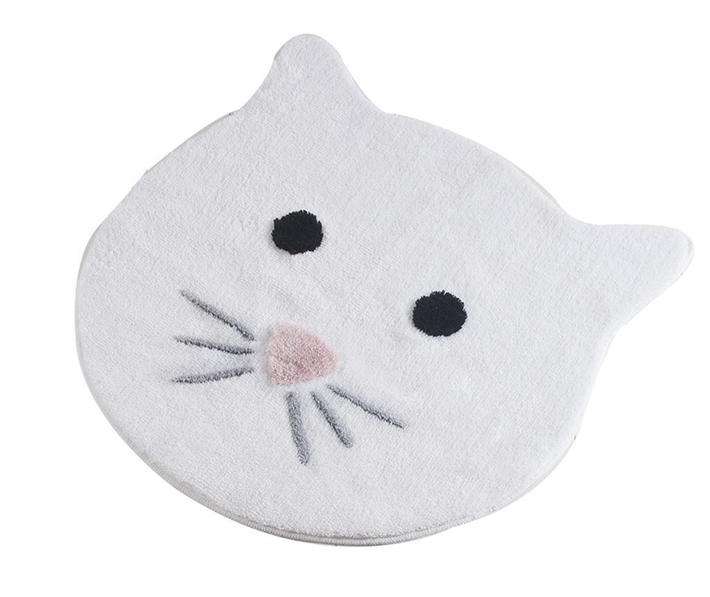 Covoras de baie Cat White 90 cm