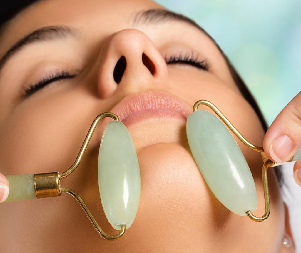 Luxurious Jade Crystal Dupla arcmasszírozó henger