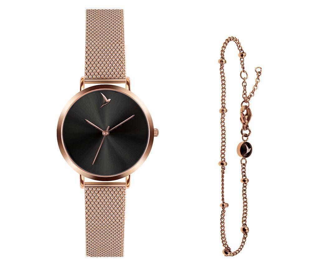 Set ceas de mana dama si bratara Emily Westwood Dark Glam Rose