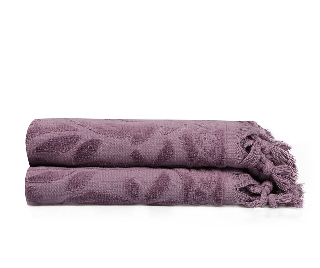 Set 2 kupaonska ručnika Fringe Purple 50x90 cm