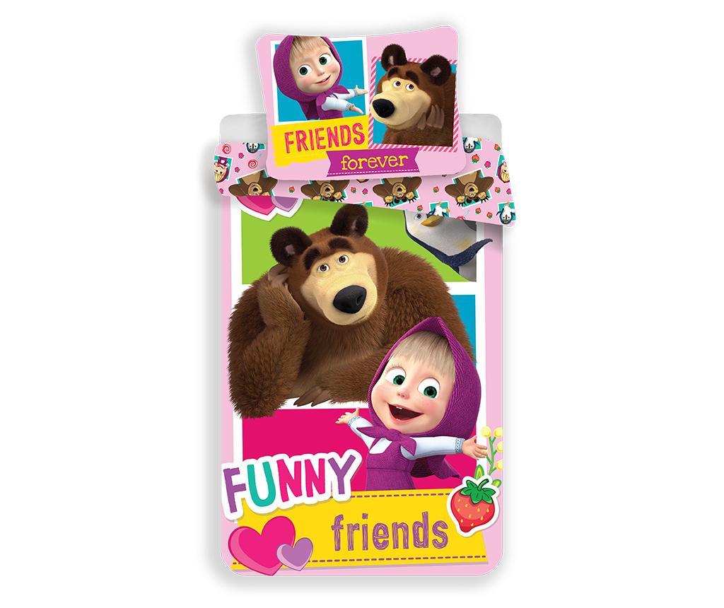 Set de pat Single Ranforce Masha and the Bear Friends 140x200