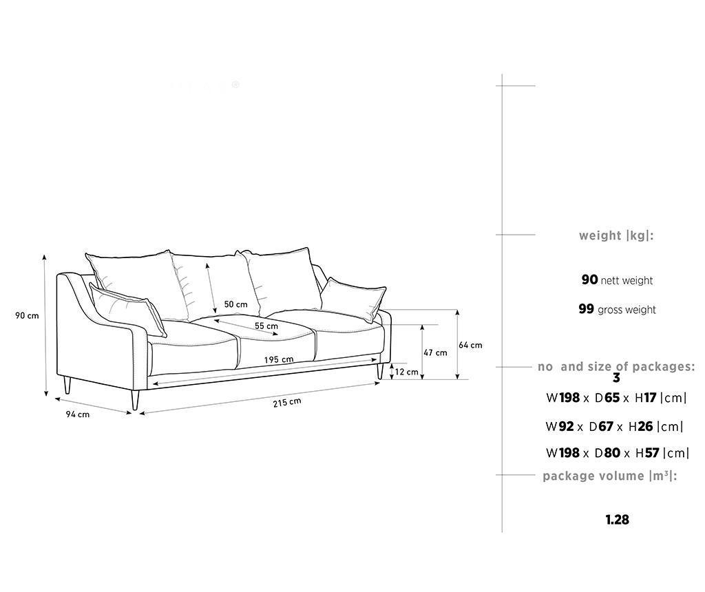 Canapea extensibila cu 3 locuri Ancolie Turquoise