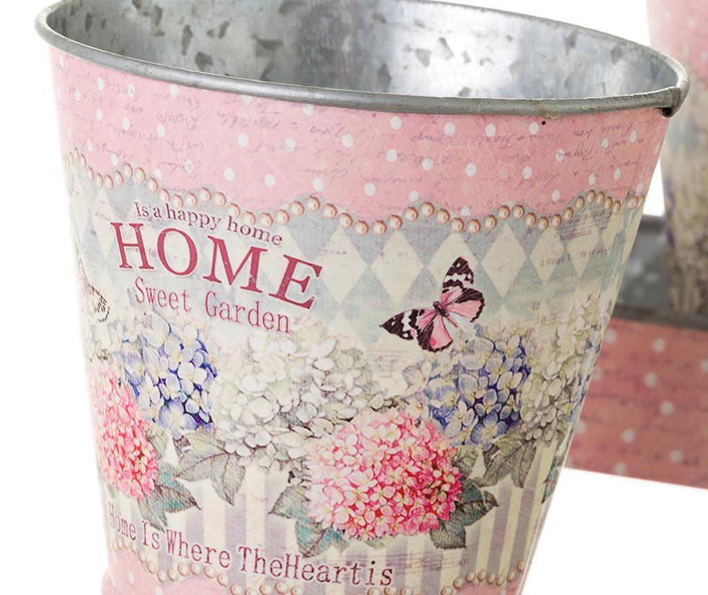 Set 2 cvetličnih lončkov z držalom Home