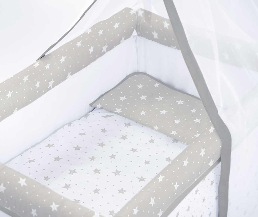 Set krevetić sa baldahinom i dodacima Stars and Dots Grey White